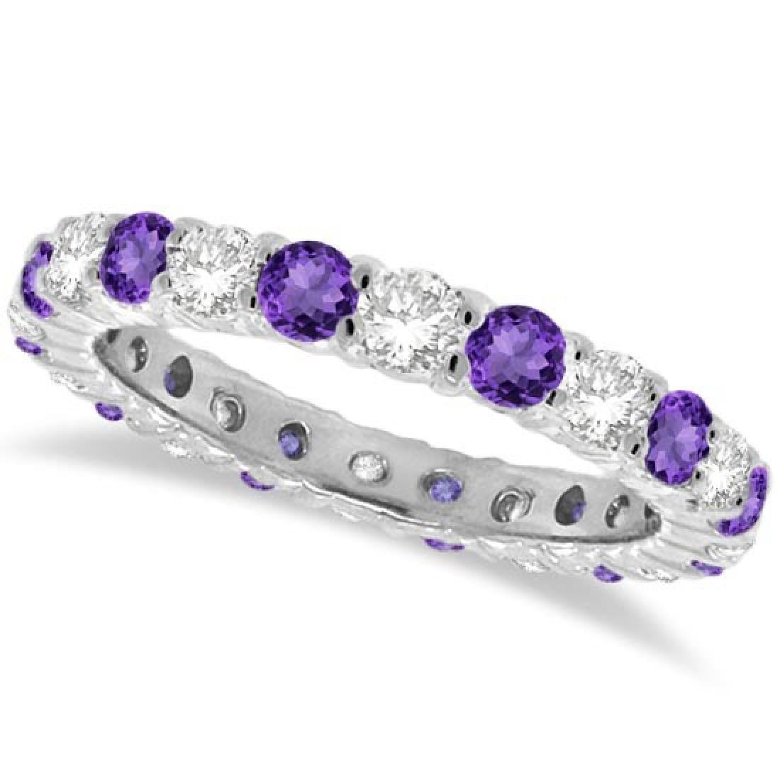 Purple Amethyst and Diamond Eternity Ring Band 14k Whit