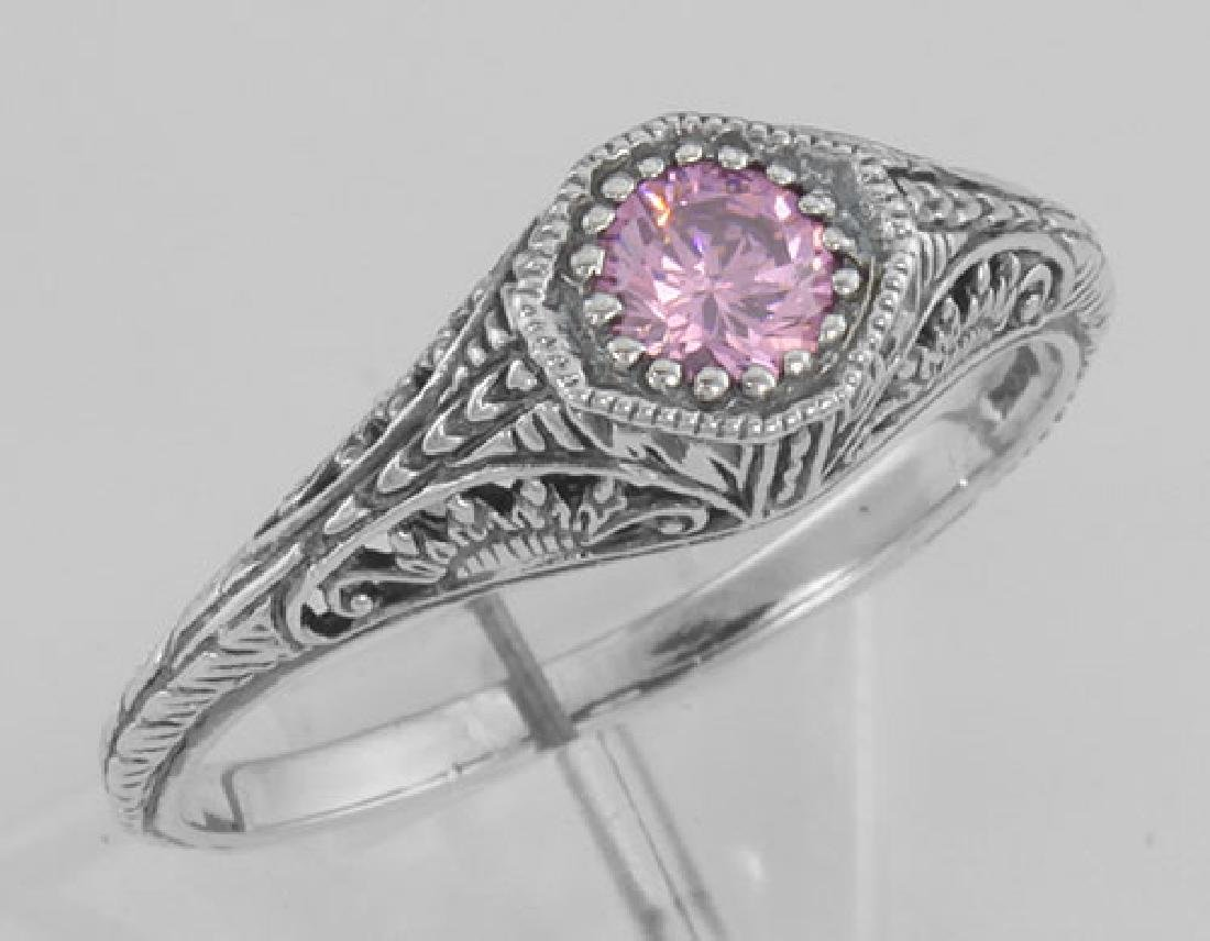 Victorian Style Pink CZ Filigree Ring - Sterling Silver