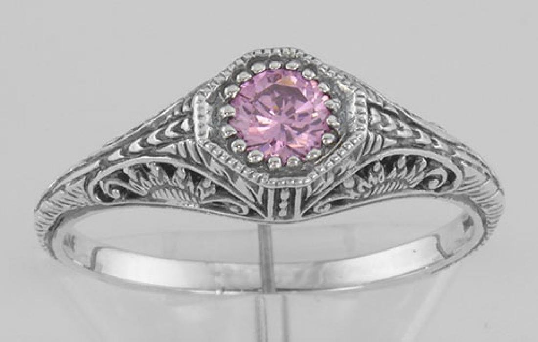 Victorian Style Pink CZ Filigree Ring - Sterling Silver - 2
