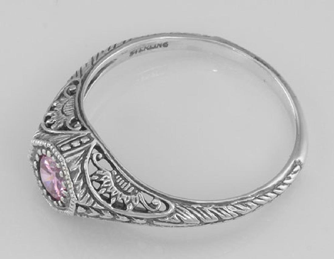 Victorian Style Pink CZ Filigree Ring - Sterling Silver - 3