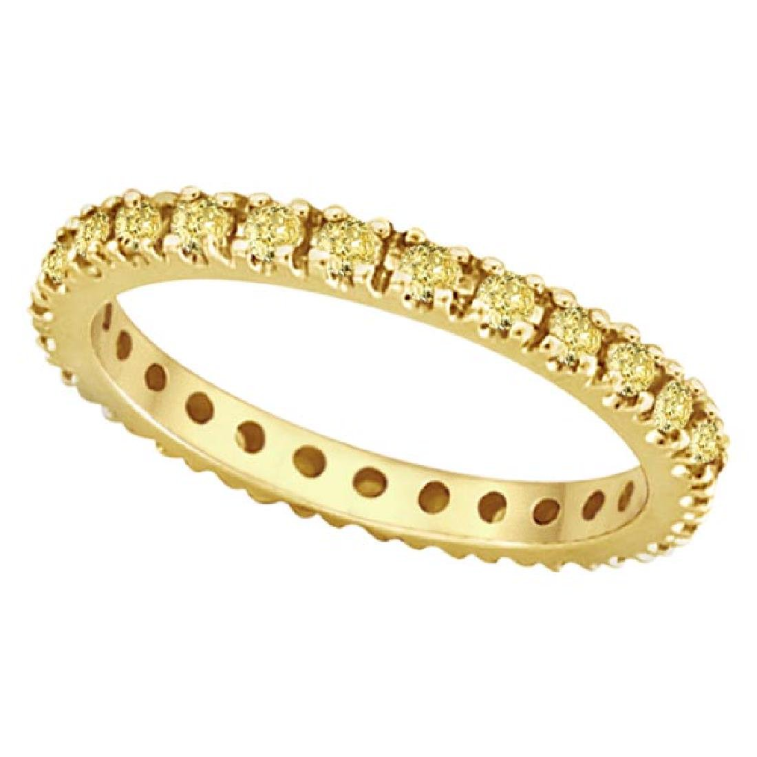 Fancy Yellow Canary Diamond Eternity Ring Band 14K Yell