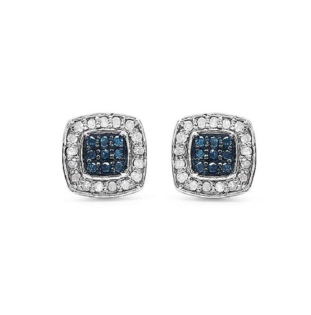 0.29 Carat Genuine Blue Diamond & White Diamond .925 St