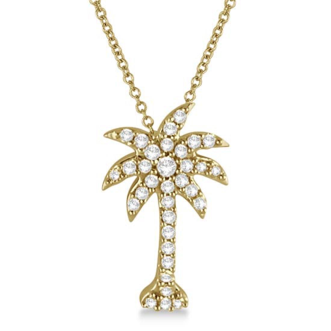 Palm Tree Shaped Diamond Pendant Necklace 14k Yellow Go