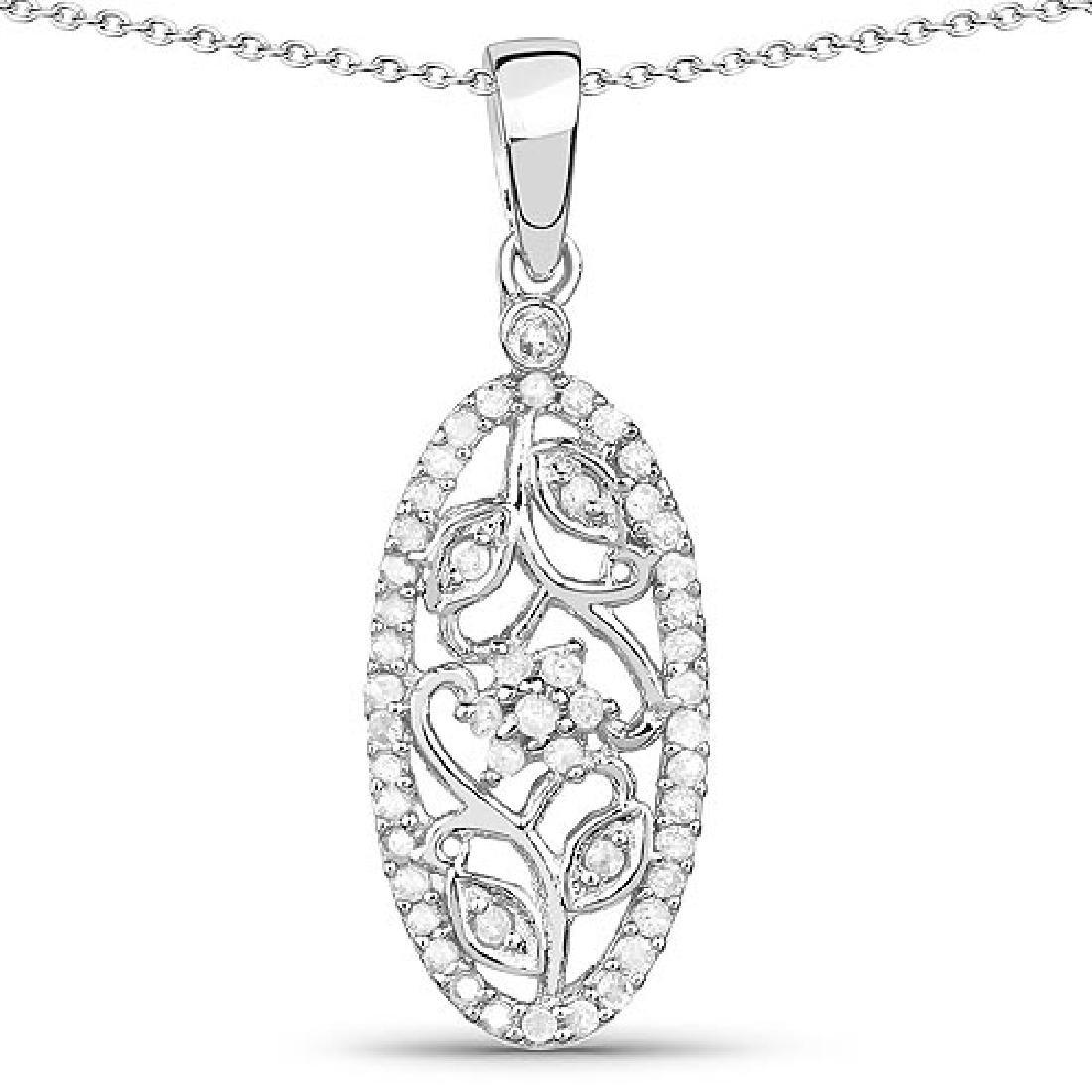 0.22 Carat Genuine White Diamond .925 Sterling Silver P