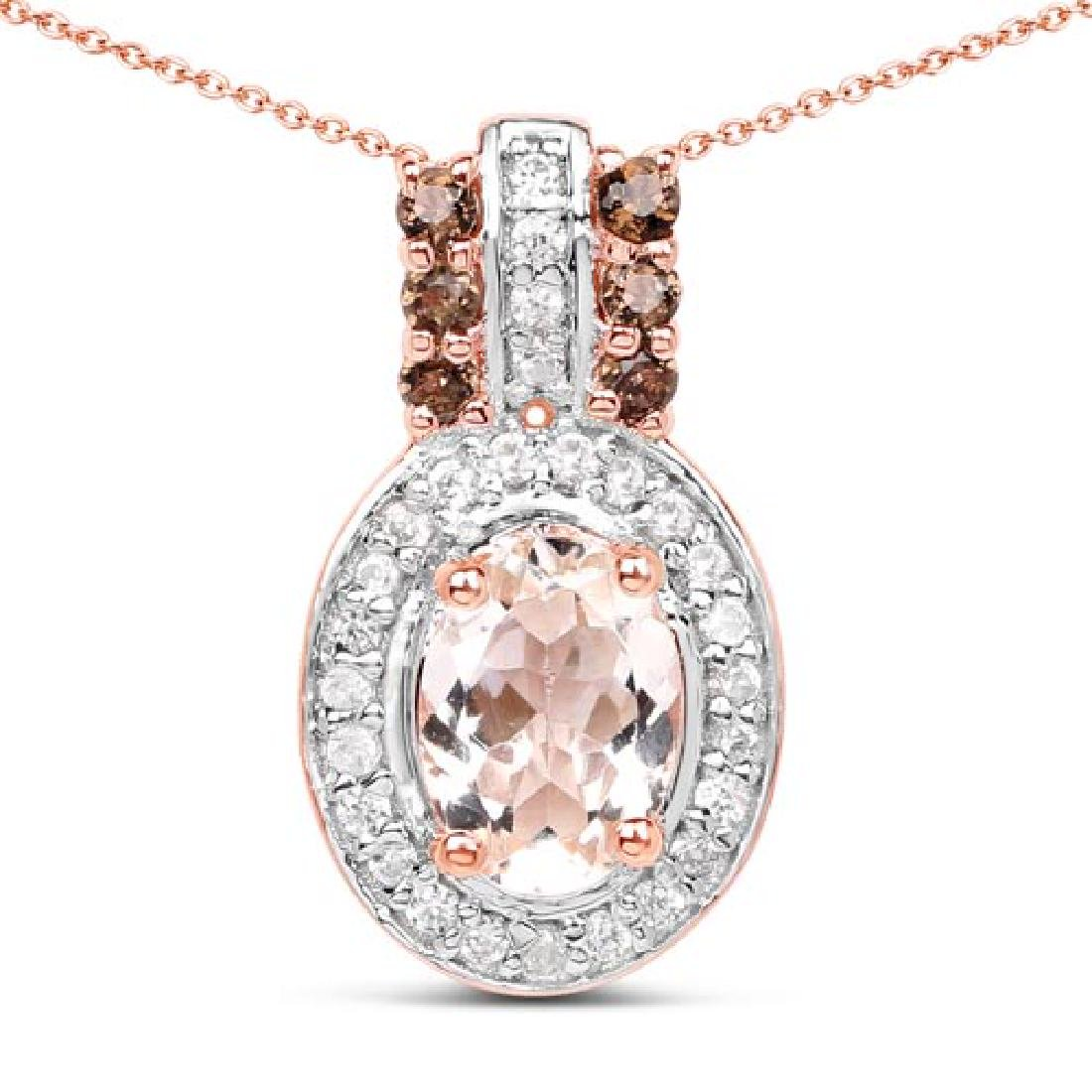 18K Rose Gold Plated 0.95 Carat Genuine Morganite Smok