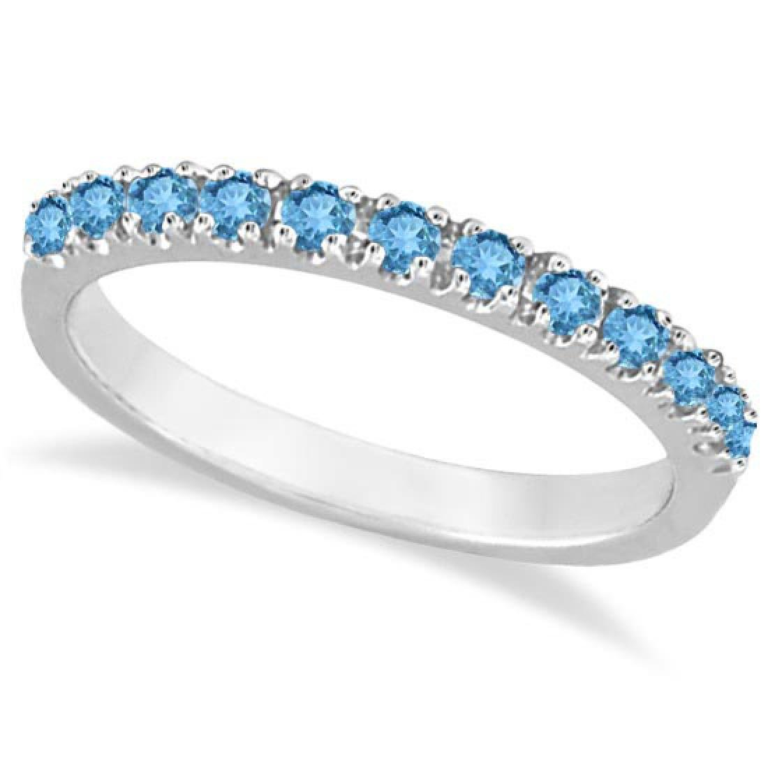 Blue Topaz Stackable Band Ring Guard in 14k White Gold