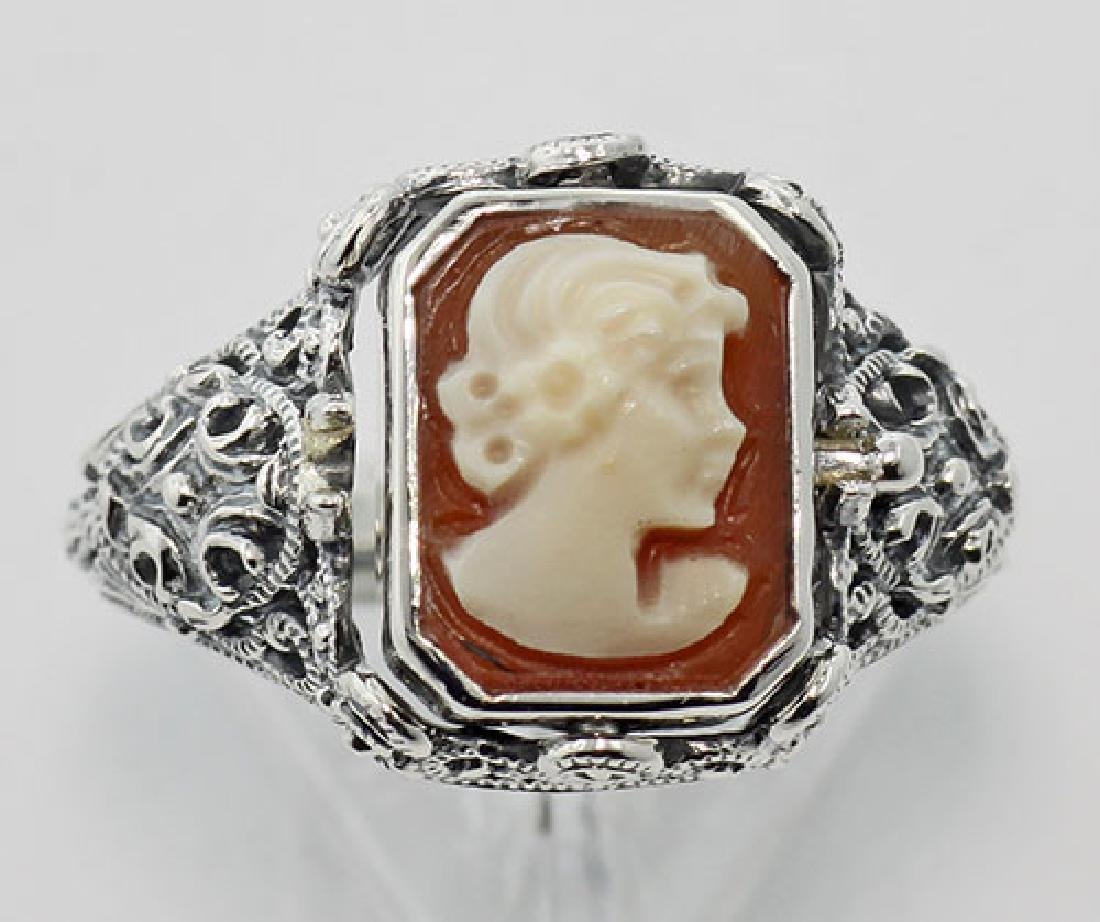 Hand Carved Italian Cameo / Onyx Filigree Flip Ring - S - 2