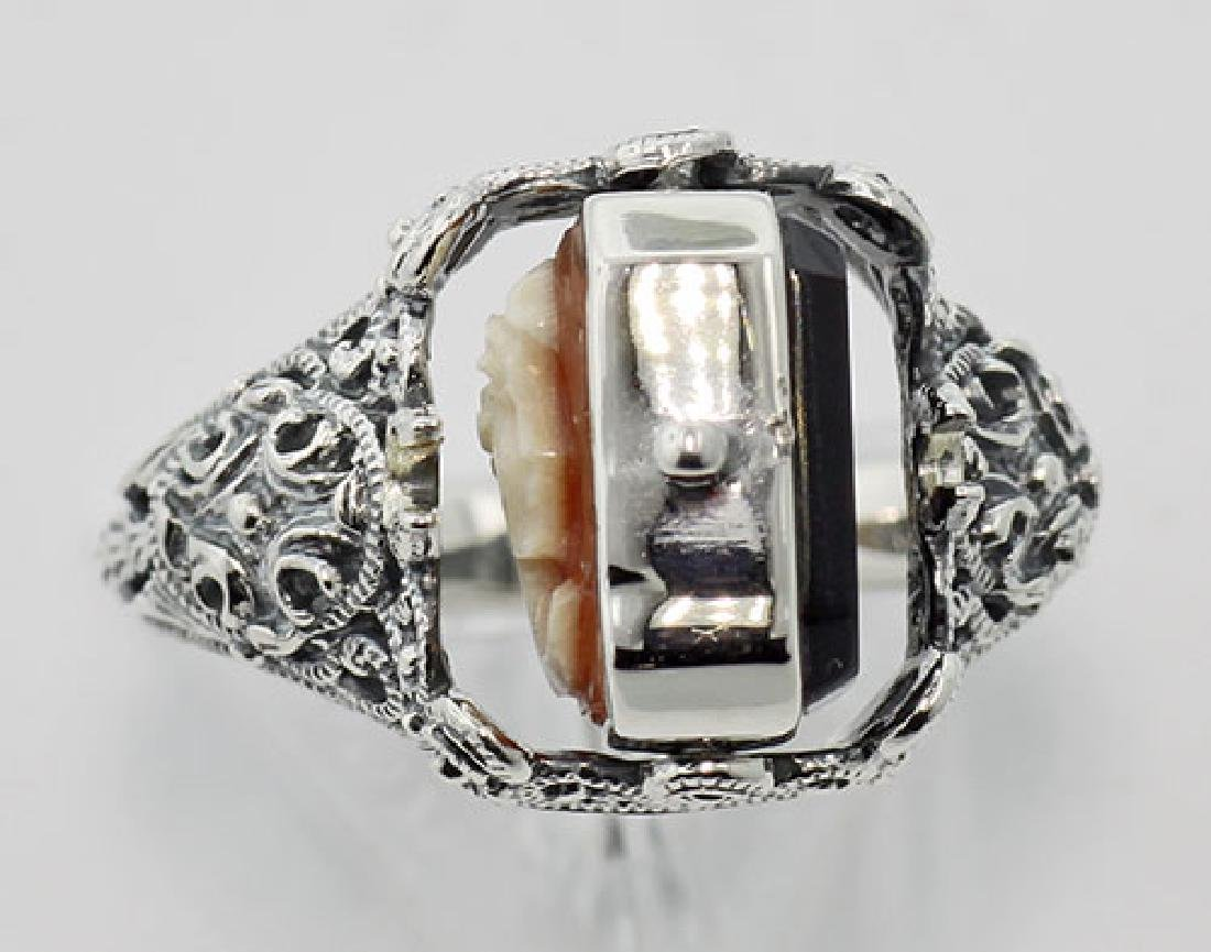 Hand Carved Italian Cameo / Onyx Filigree Flip Ring - S - 3