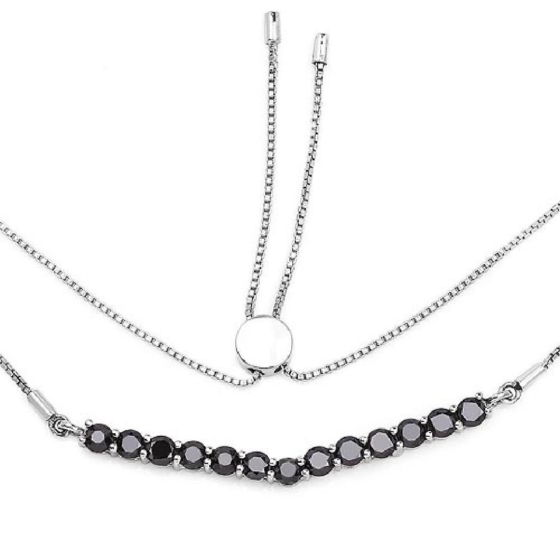 2.28 Carat Genuine Black Diamond .925 Sterling Silver N