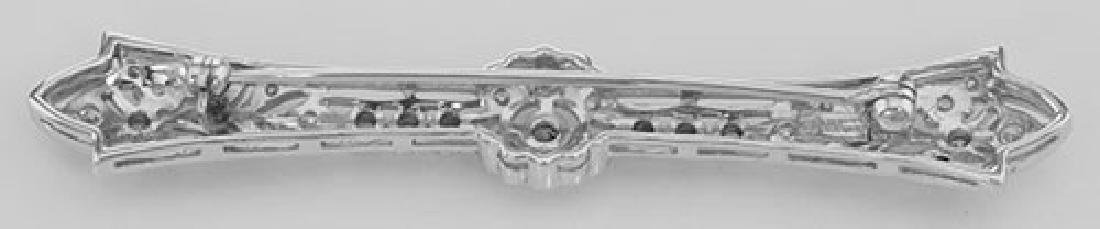 Classic Antique Style Filigree Bar Pin / Brooch w/ CZ - - 2