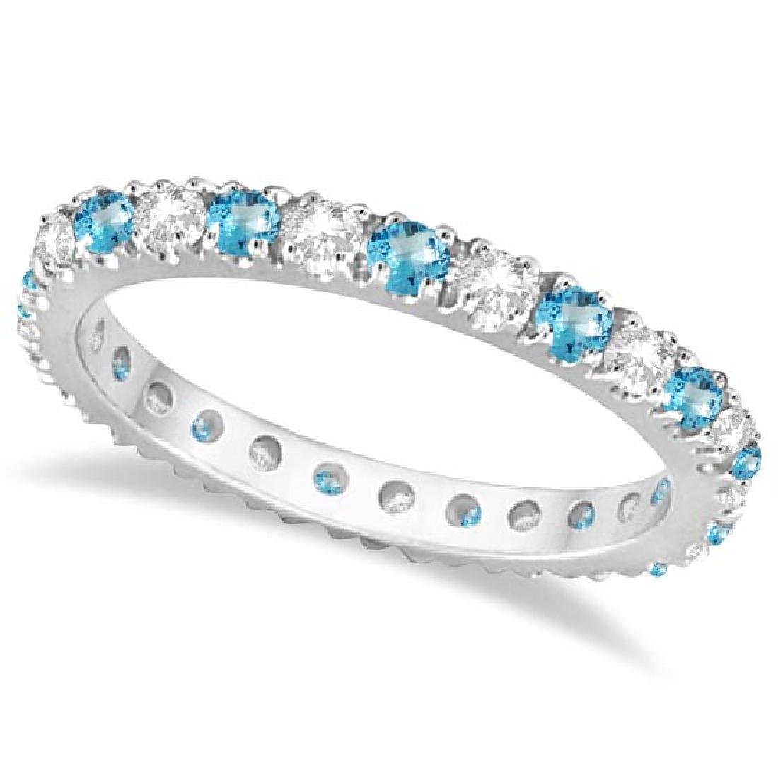 Diamond and Blue Topaz Eternity Ring Stack Band 14K Whi