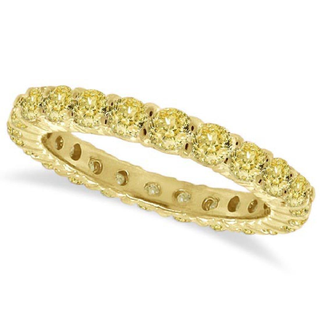 Fancy Yellow Diamond Eternity Ring Anniversary Band 14k
