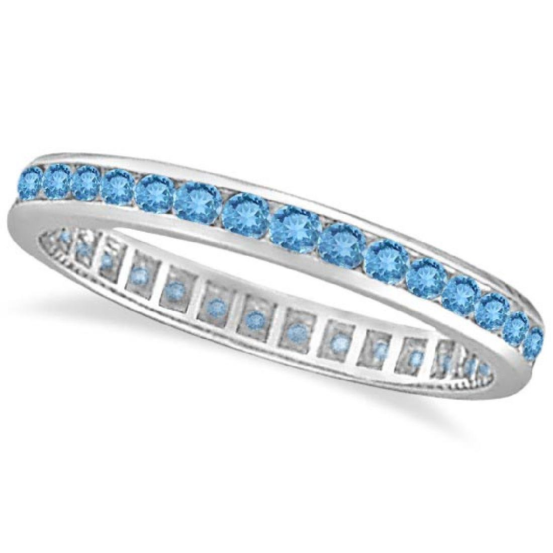 Blue Topaz Channel-Set Eternity Ring Band 14k White Gol