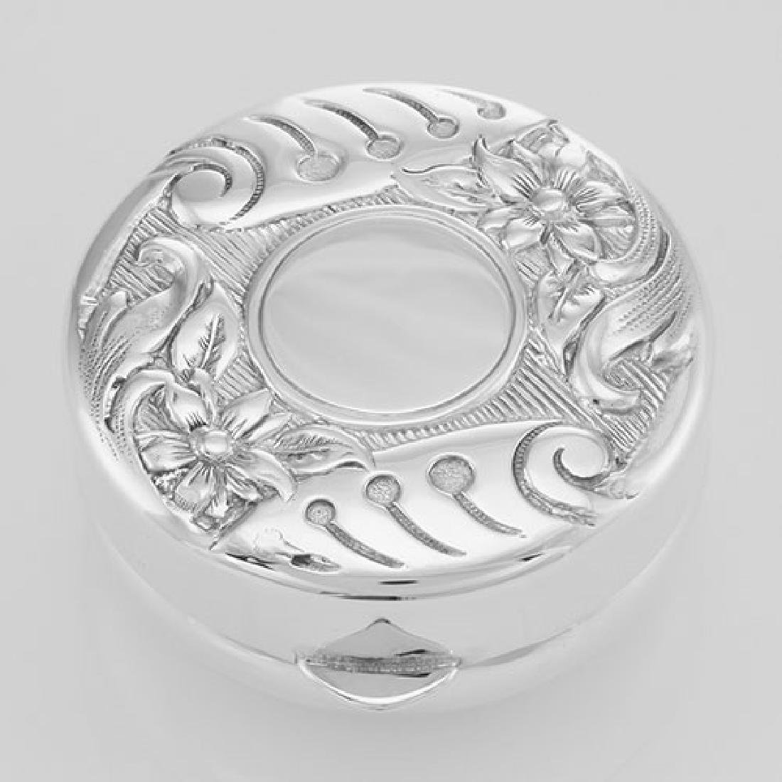 Sterling Silver Floral Engravable Pillbox - Made in USA