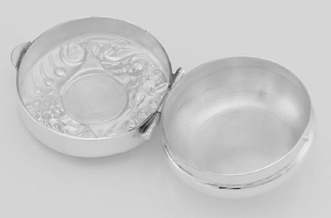 Sterling Silver Floral Engravable Pillbox - Made in USA - 2