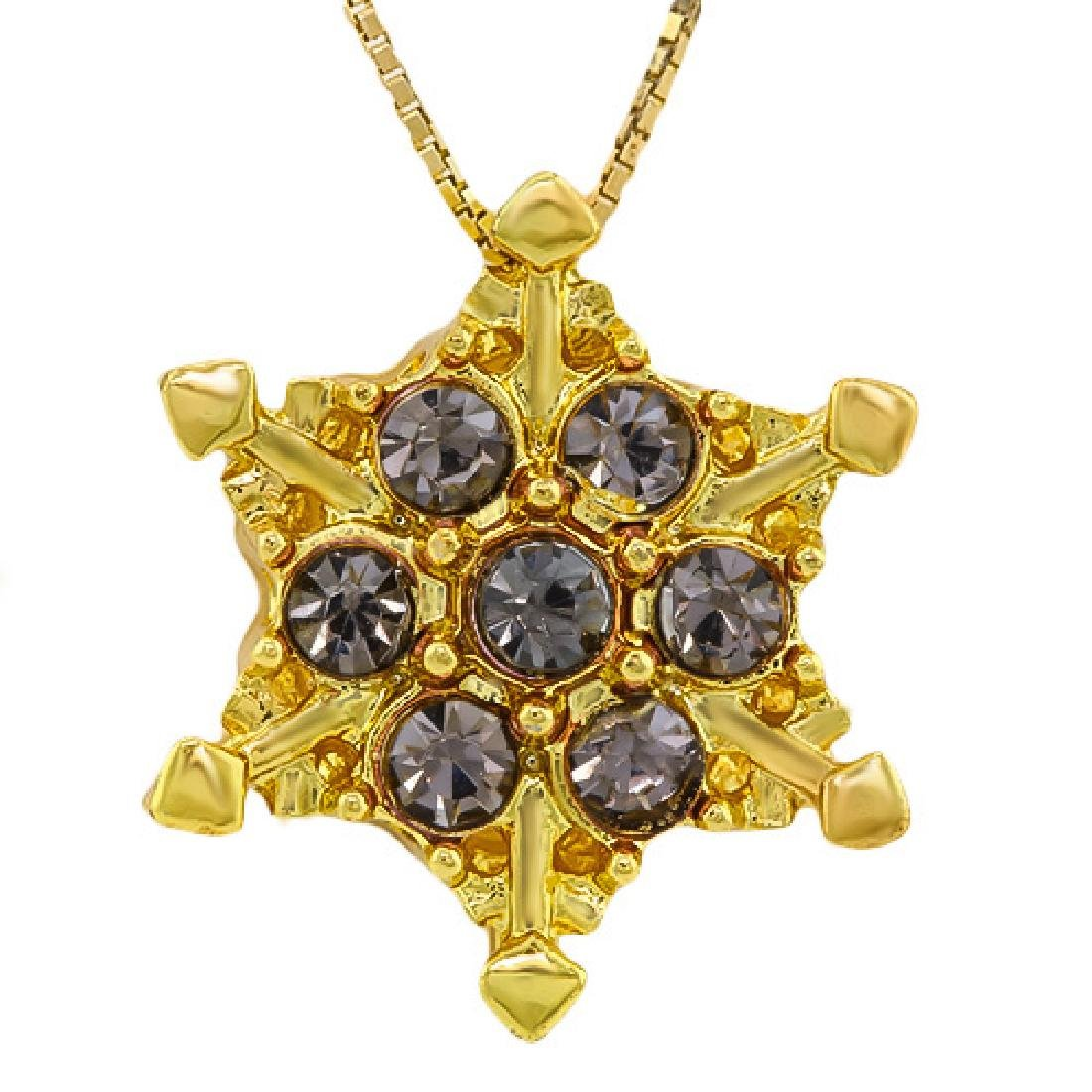 CREATED SAPPHIRE 18K GOLD PLATED GERMAN SILVER PENDANT