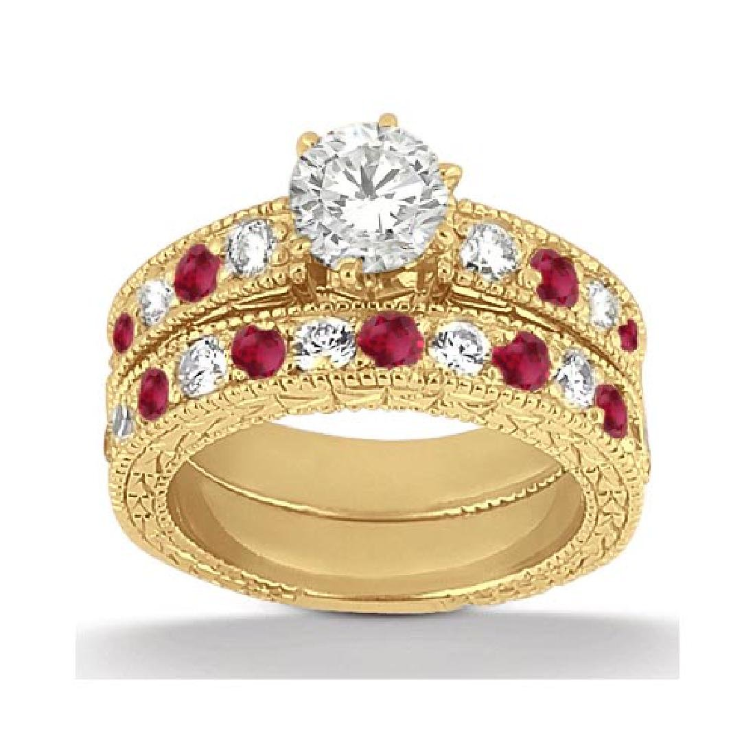 Antique Diamond and Ruby Bridal Set 14k Yellow Gold (2.