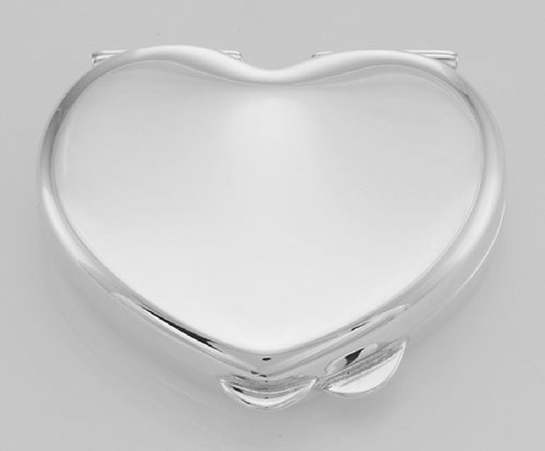 Classic Sterling Silver Heart Pillbox Engraveable - Mad