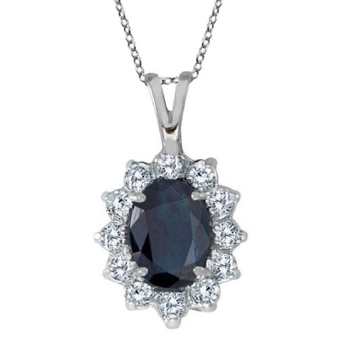 Blue Sapphire and Diamond Accented Pendant 14k White Go