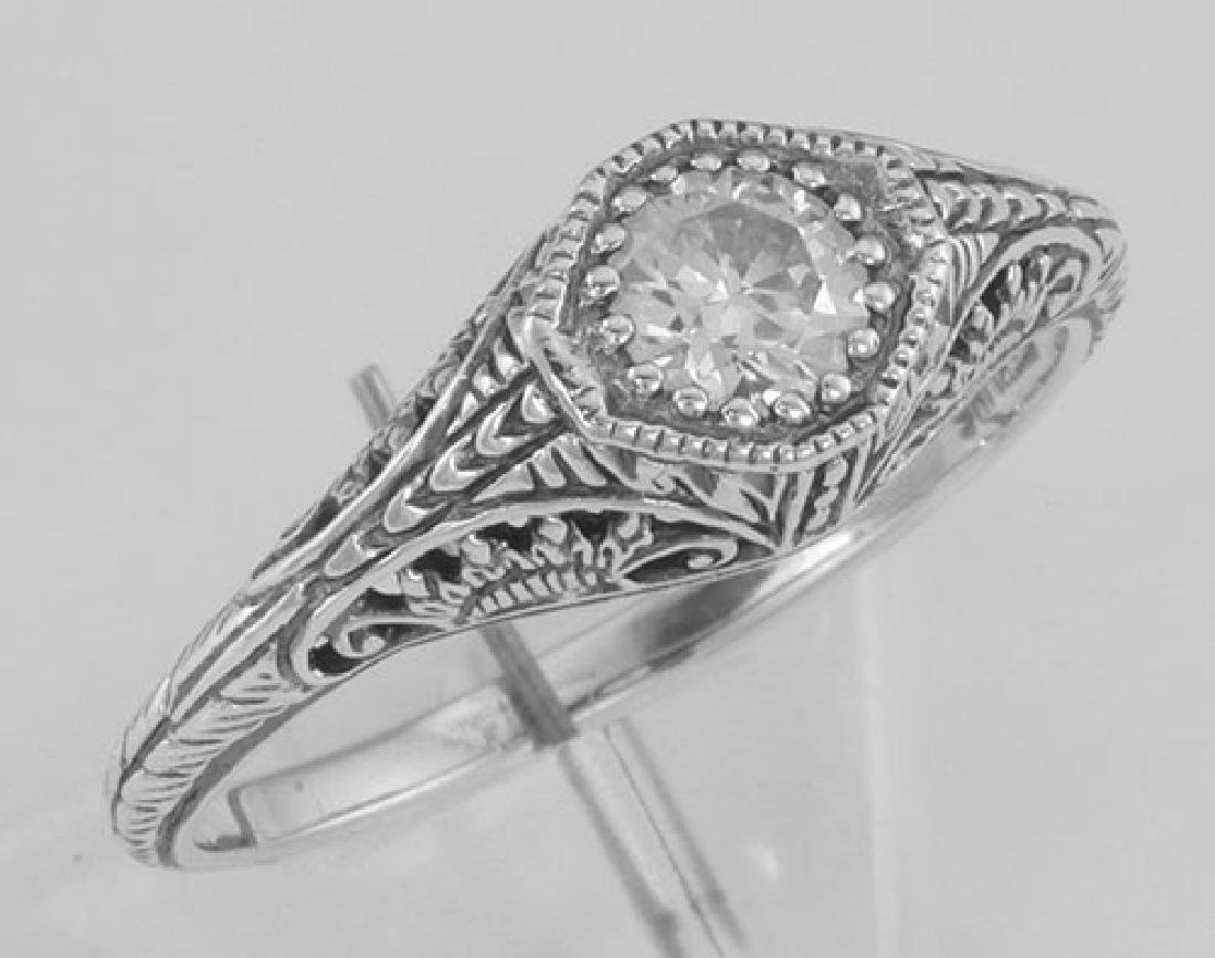 Classic Victorian Style CZ Filigree Ring - Sterling Sil
