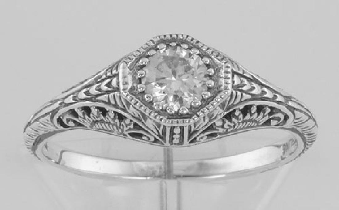 Classic Victorian Style CZ Filigree Ring - Sterling Sil - 2