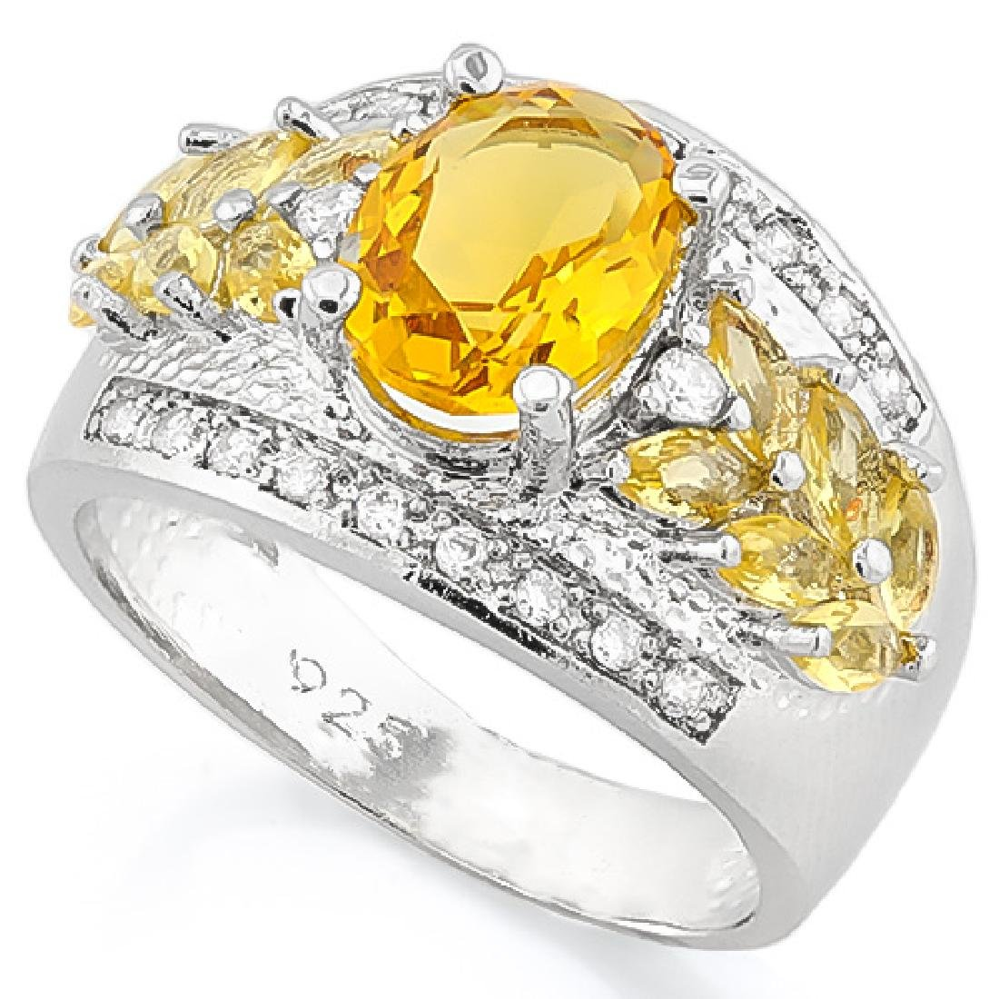 CREATED CITRINE 925 STERLING SILVER RING