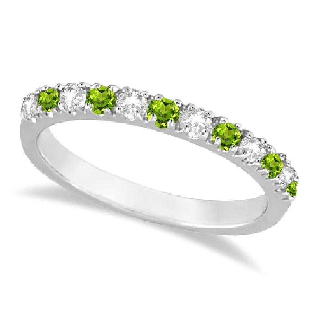Diamond and Peridot Ring Guard Anniversary Ring 14k Whi