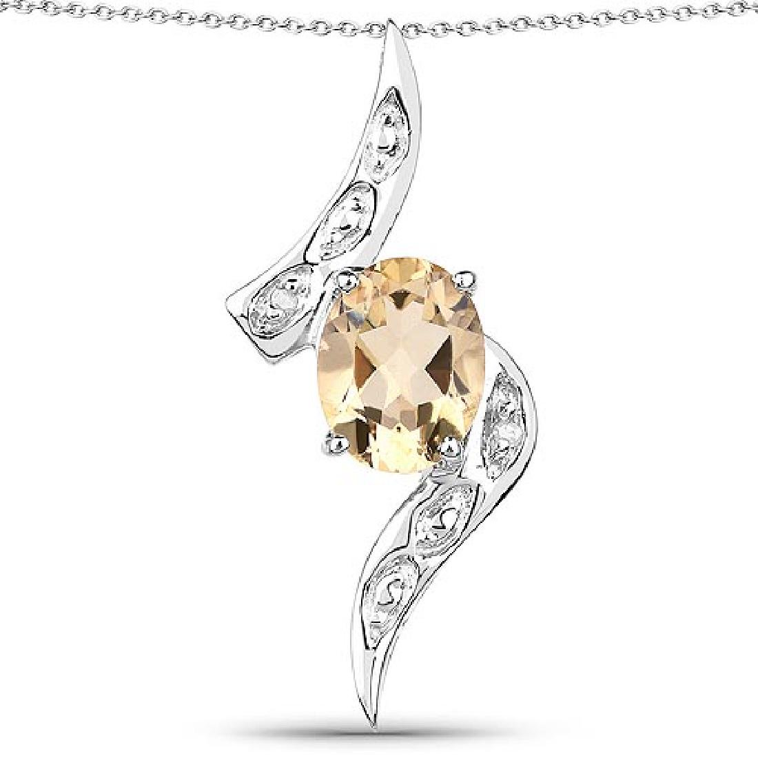 1.72 Carat Genuine Citrine and White Diamond .925 Sterl