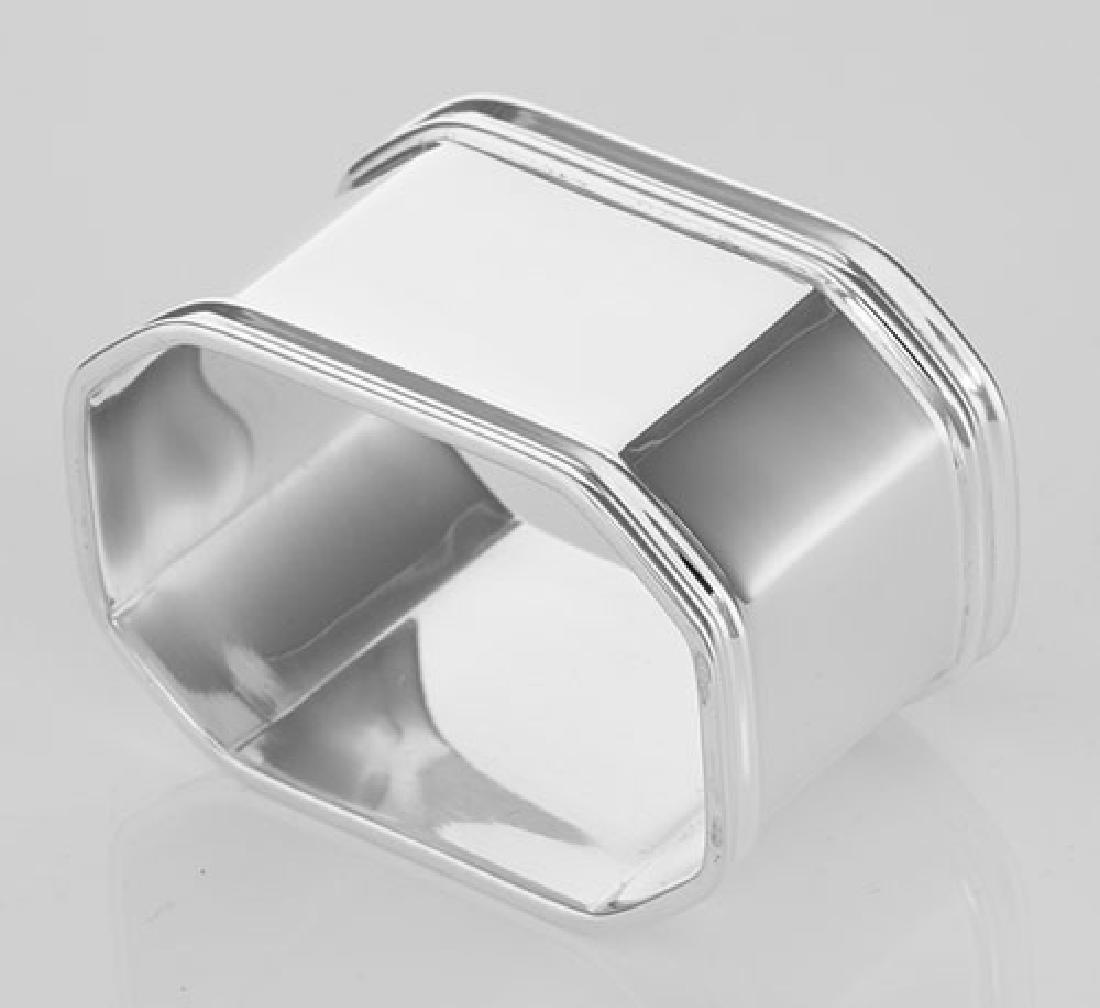 Sterling Silver Napkin Ring - Octagonal - Made in Italy - 2
