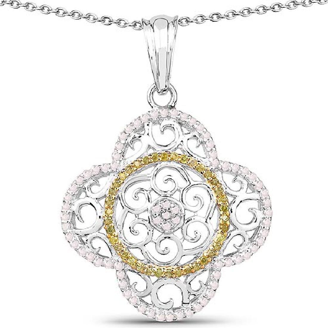 0.57 Carat Genuine White Diamond and Yellow Diamond .92