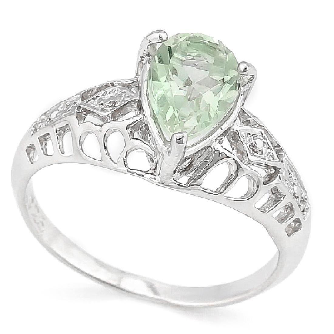 1 1/5 CARAT GREEN AMETHYST & DIAMOND 925 STERLING SILVE