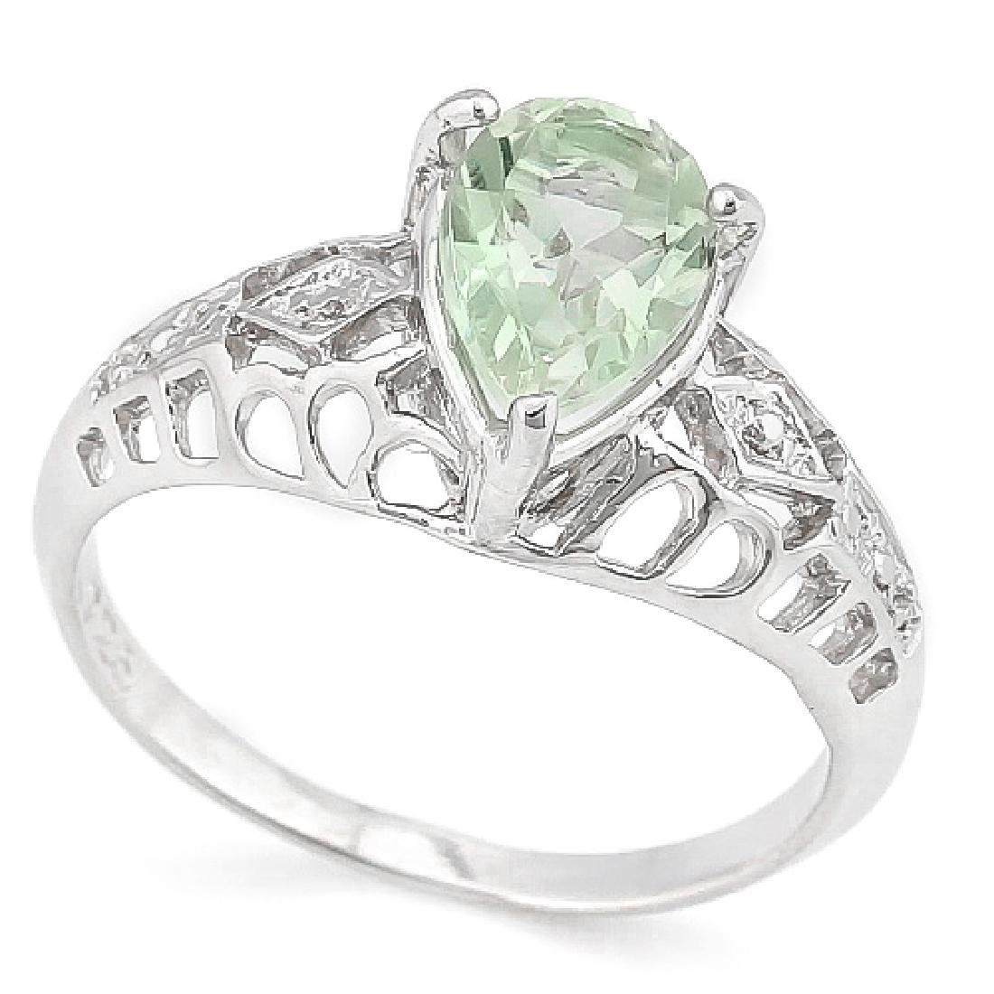 1 1/5 CARAT GREEN AMETHYST & DIAMOND 925 STERLING SILVE