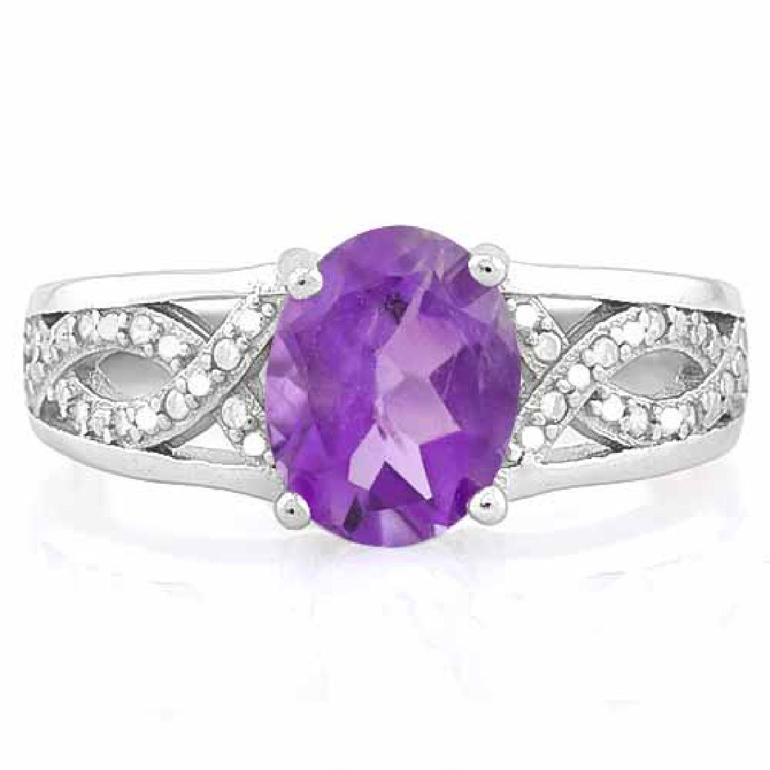 1.67 CARAT AMETHYST & (9 PCS) CREATED DIAMOND 925 STERL