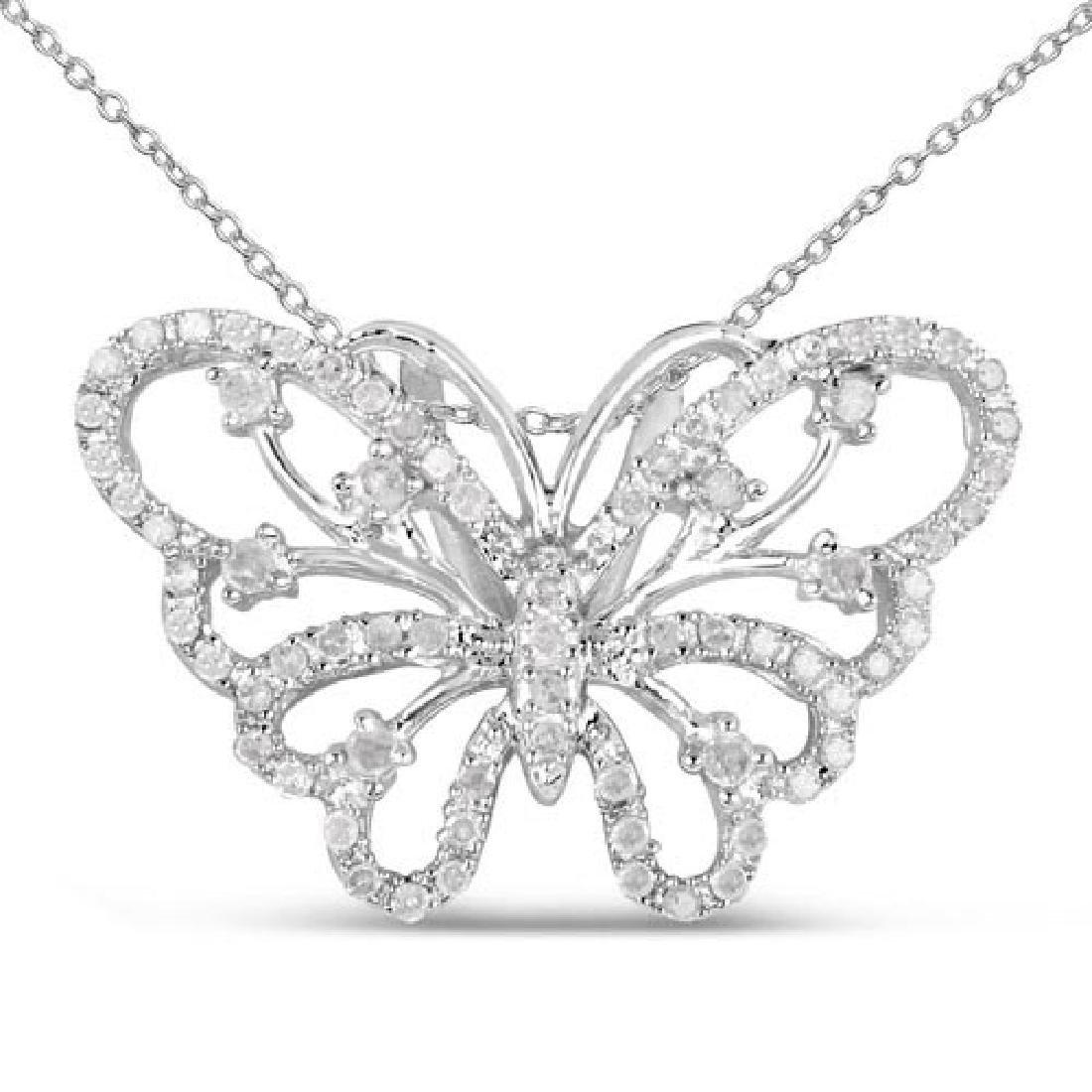 0.35 Carat Genuine White Diamond .925 Sterling Silver P