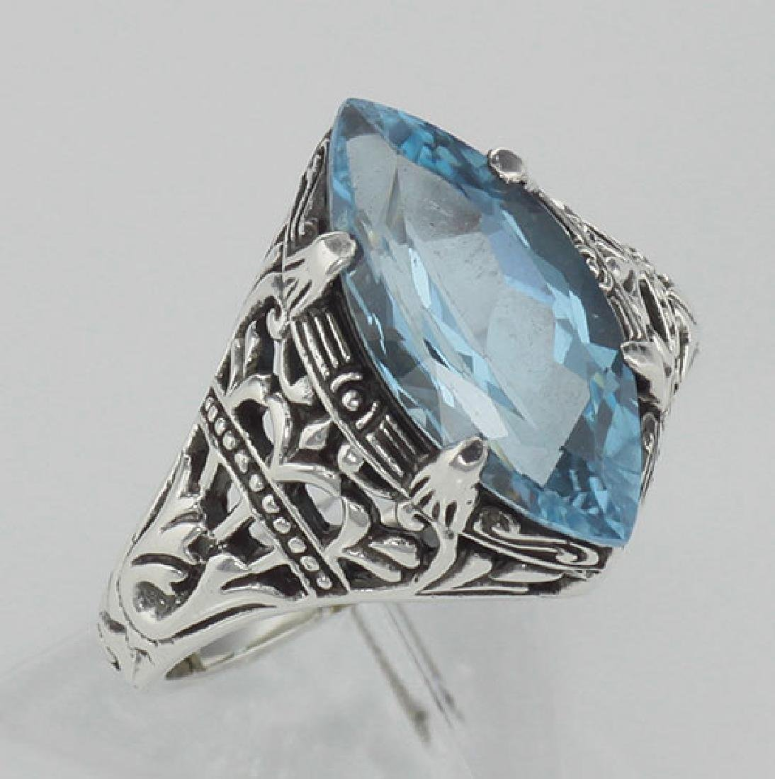 Antique Victorian Style Blue Topaz Filigree Ring - Ster