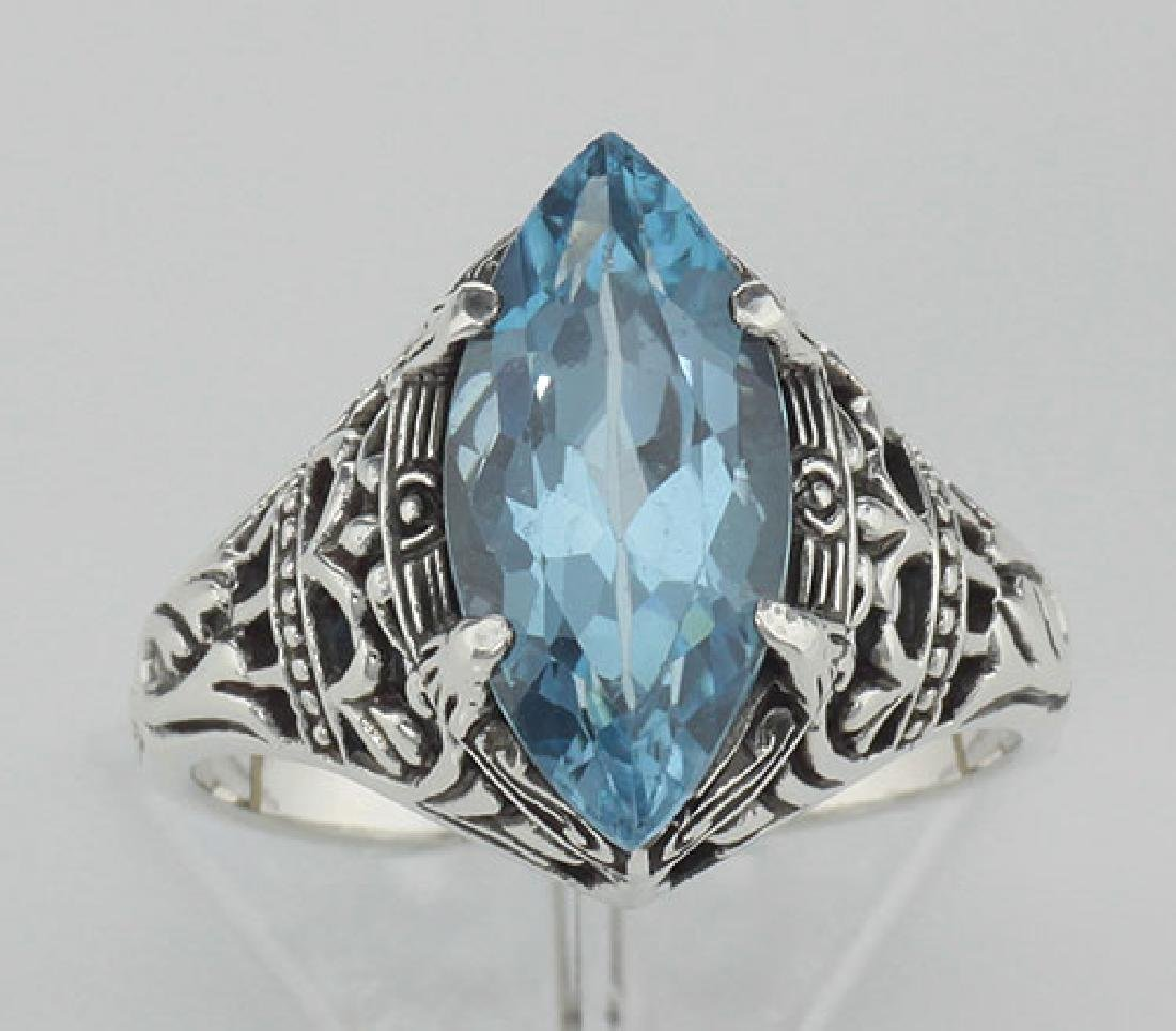 Antique Victorian Style Blue Topaz Filigree Ring - Ster - 2