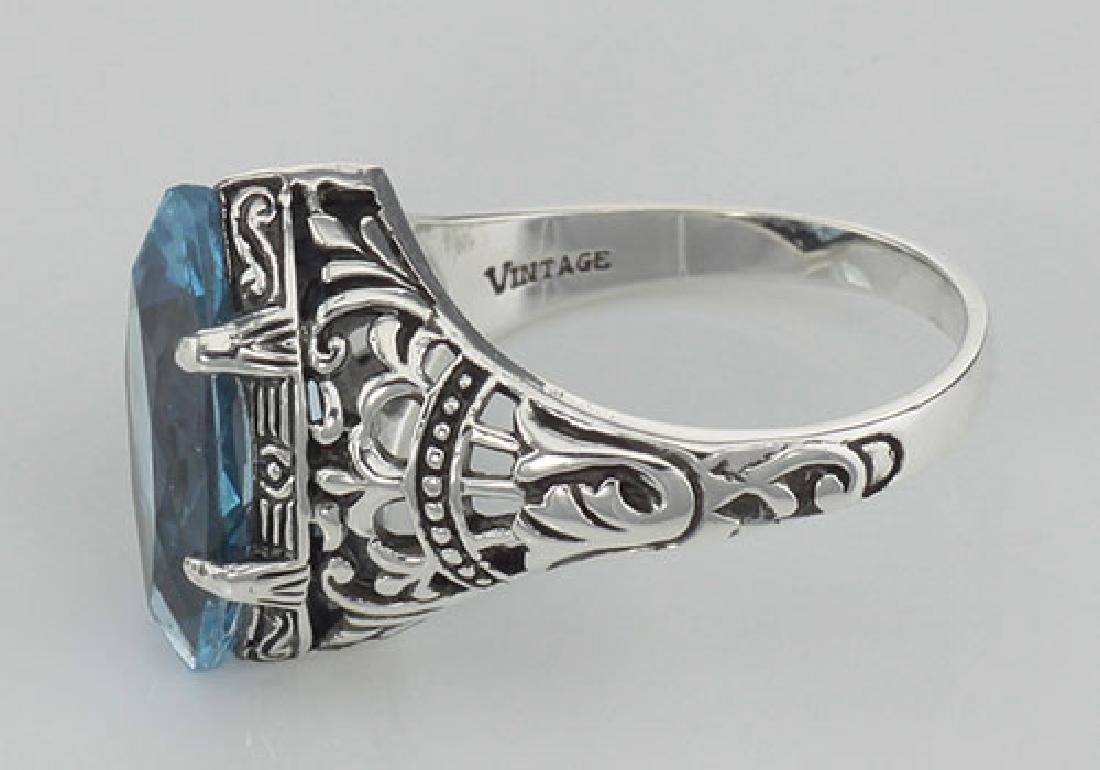 Antique Victorian Style Blue Topaz Filigree Ring - Ster - 3