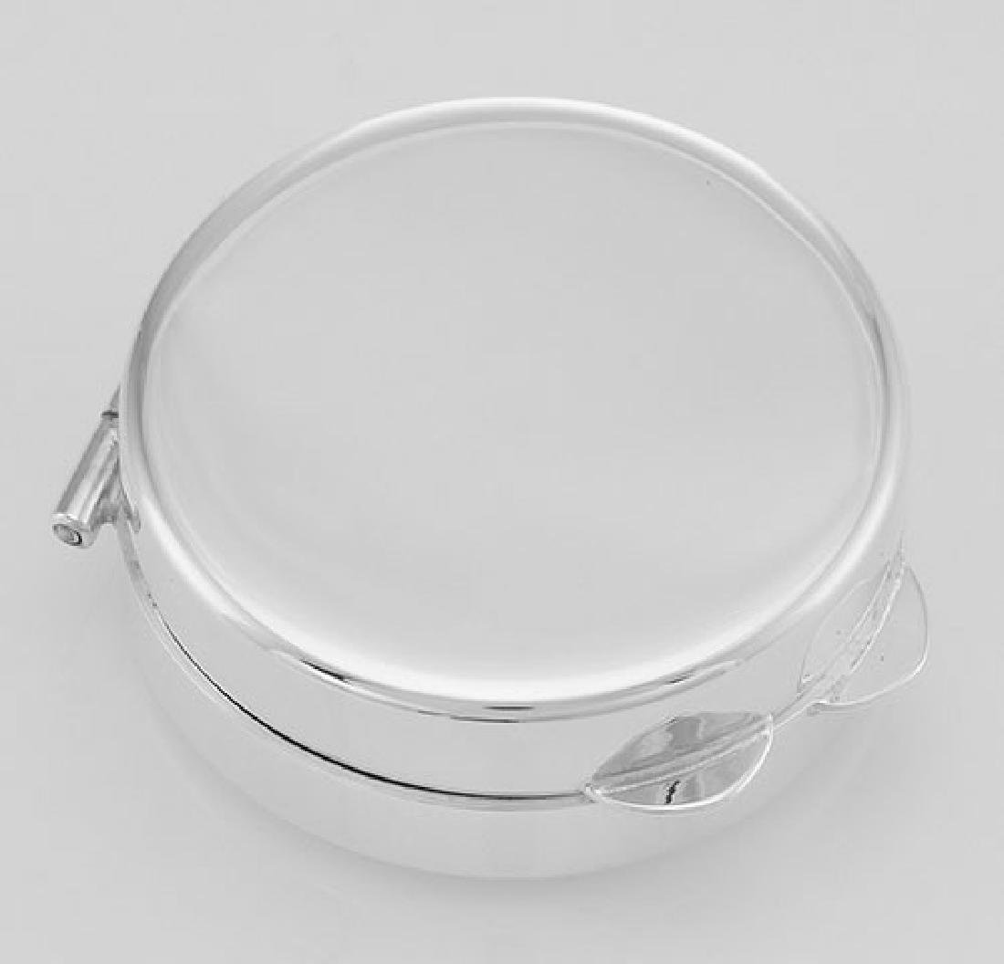 Beautiful Engravable Round Sterling Silver Pillbox - Ma - 3