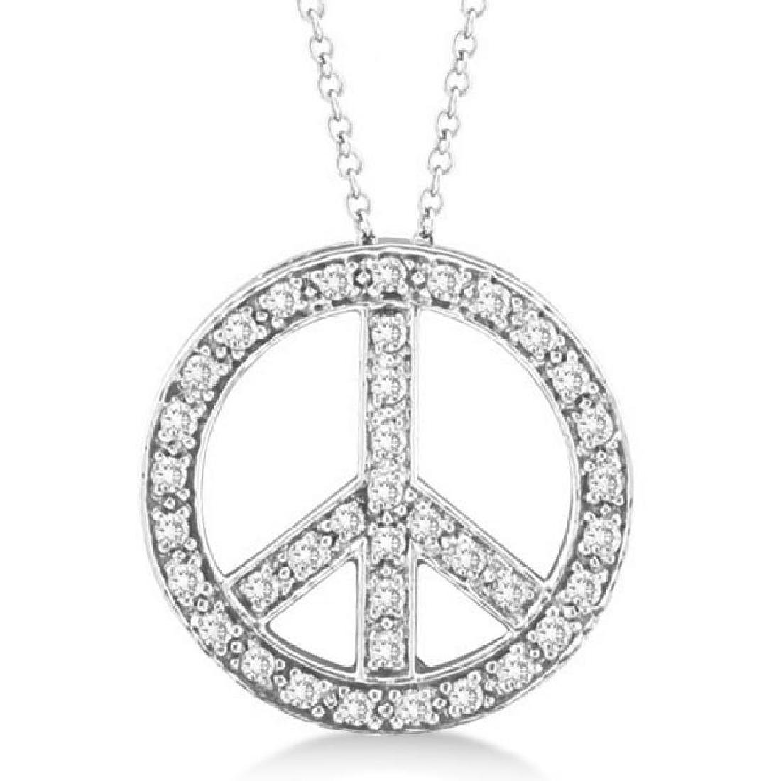 Diamond Peace Sign Pendant Necklace 14k White Gold (0.5