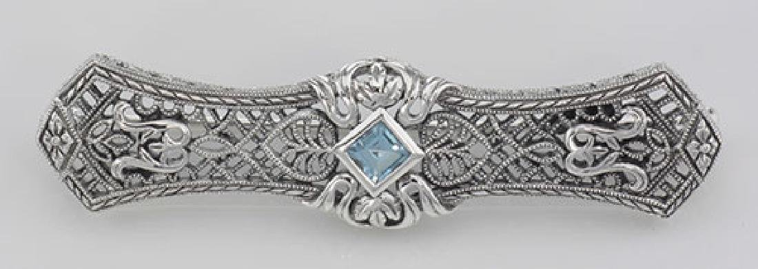 Art Deco Style Blue Topaz Filigree Bar Pin Brooch - Ste
