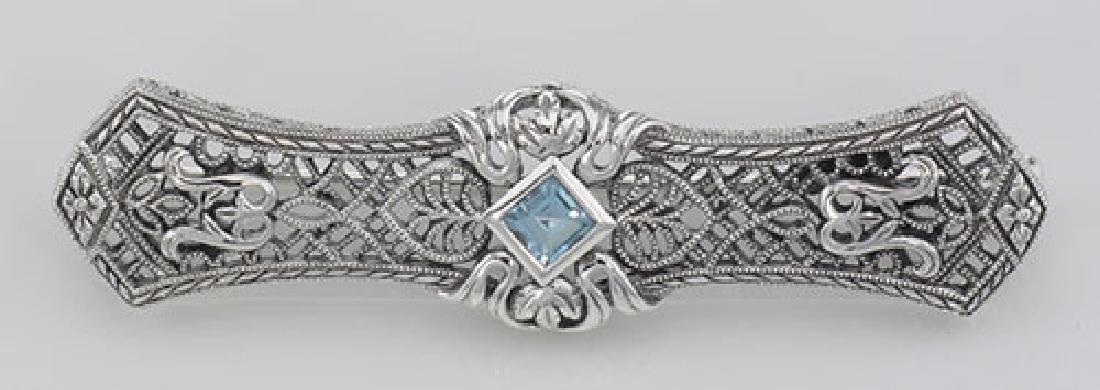 Art Deco Style Blue Topaz Filigree Bar Pin Brooch - Ste