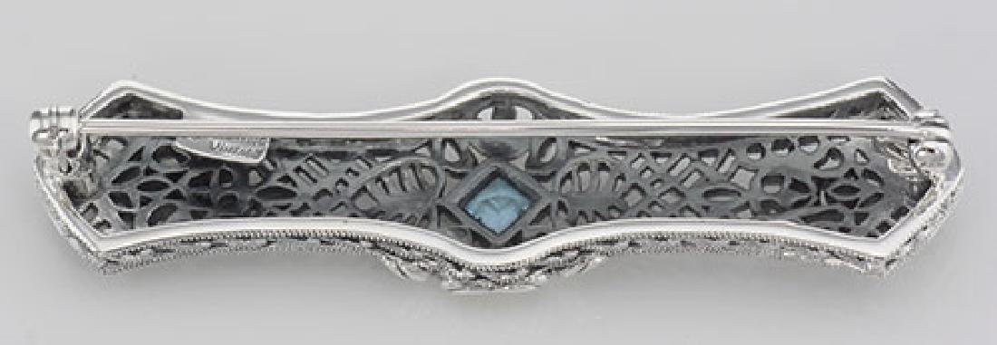 Art Deco Style Blue Topaz Filigree Bar Pin Brooch - Ste - 2