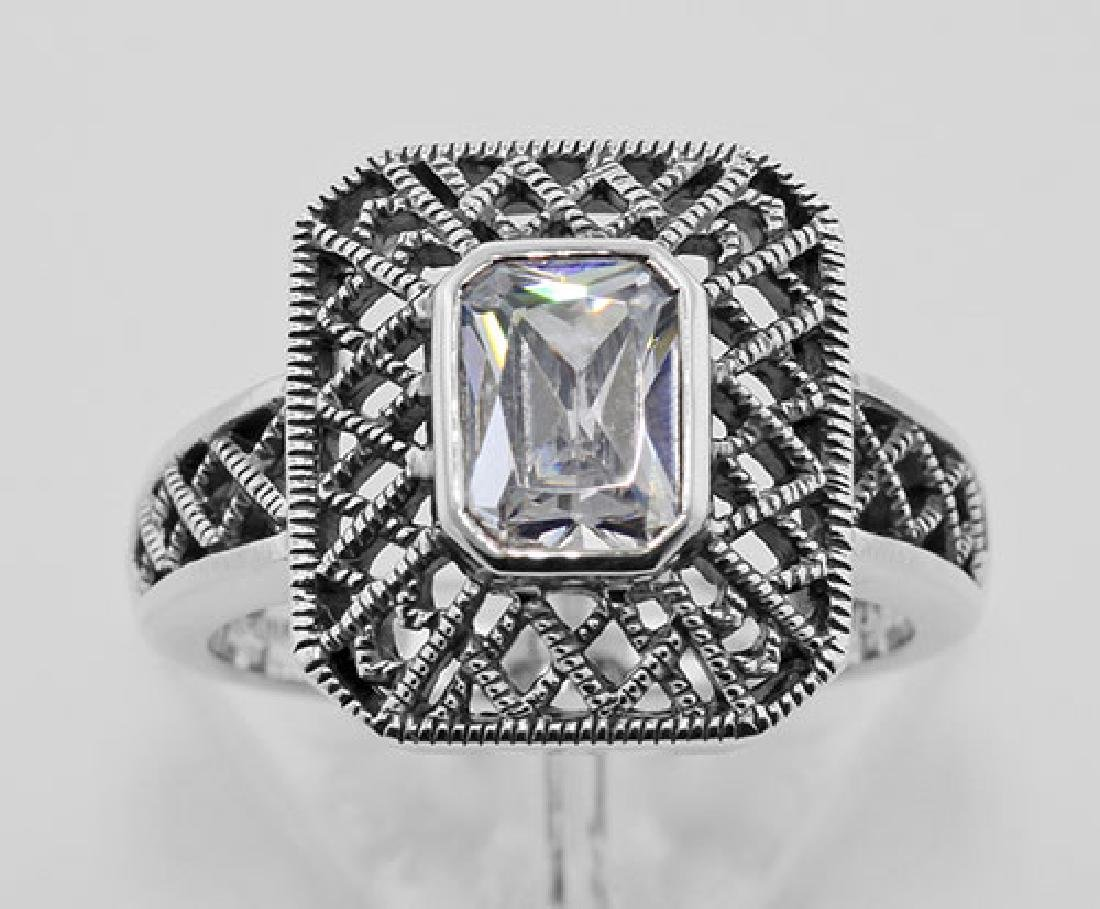 Cubic Zirconia Filigree Ring - Sterling Silver - 2