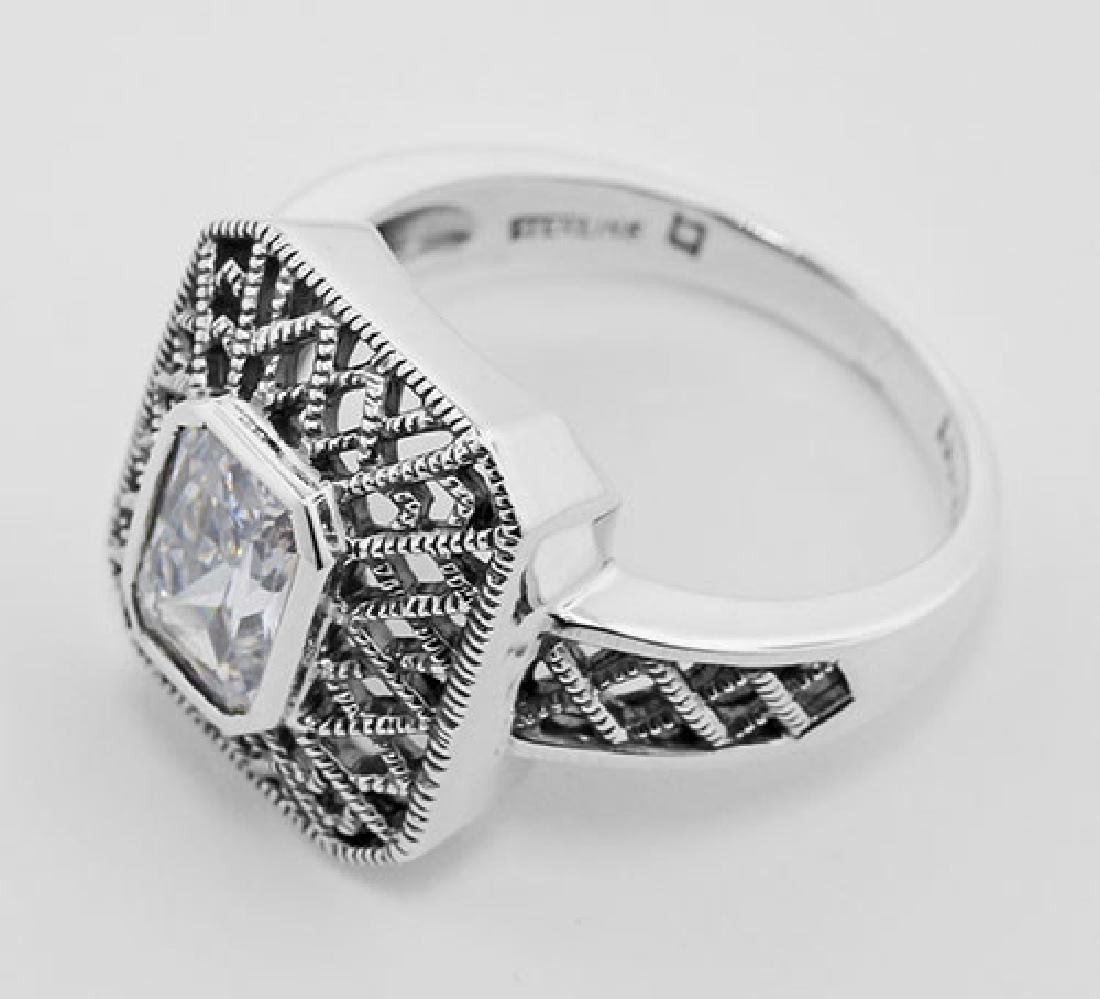 Cubic Zirconia Filigree Ring - Sterling Silver - 3