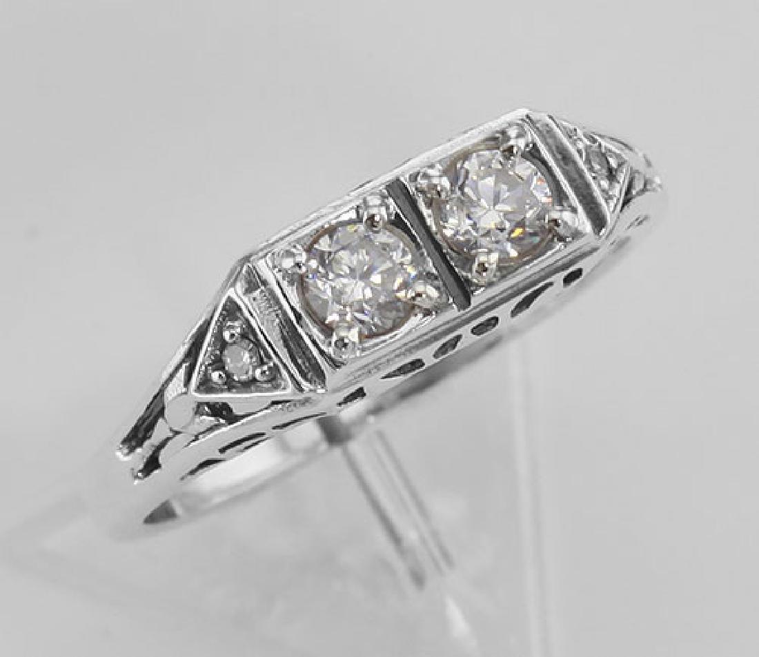 CZ Filigree Ring w/ 2 Diamonds - Sterling Silver