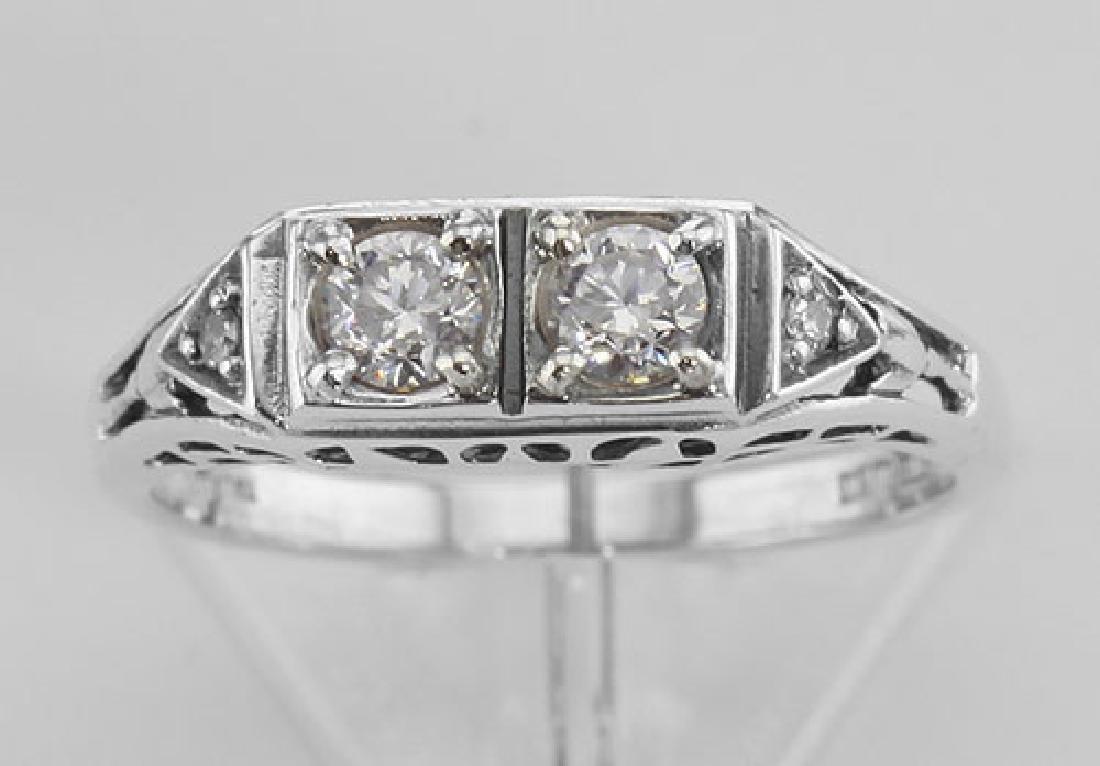 CZ Filigree Ring w/ 2 Diamonds - Sterling Silver - 2