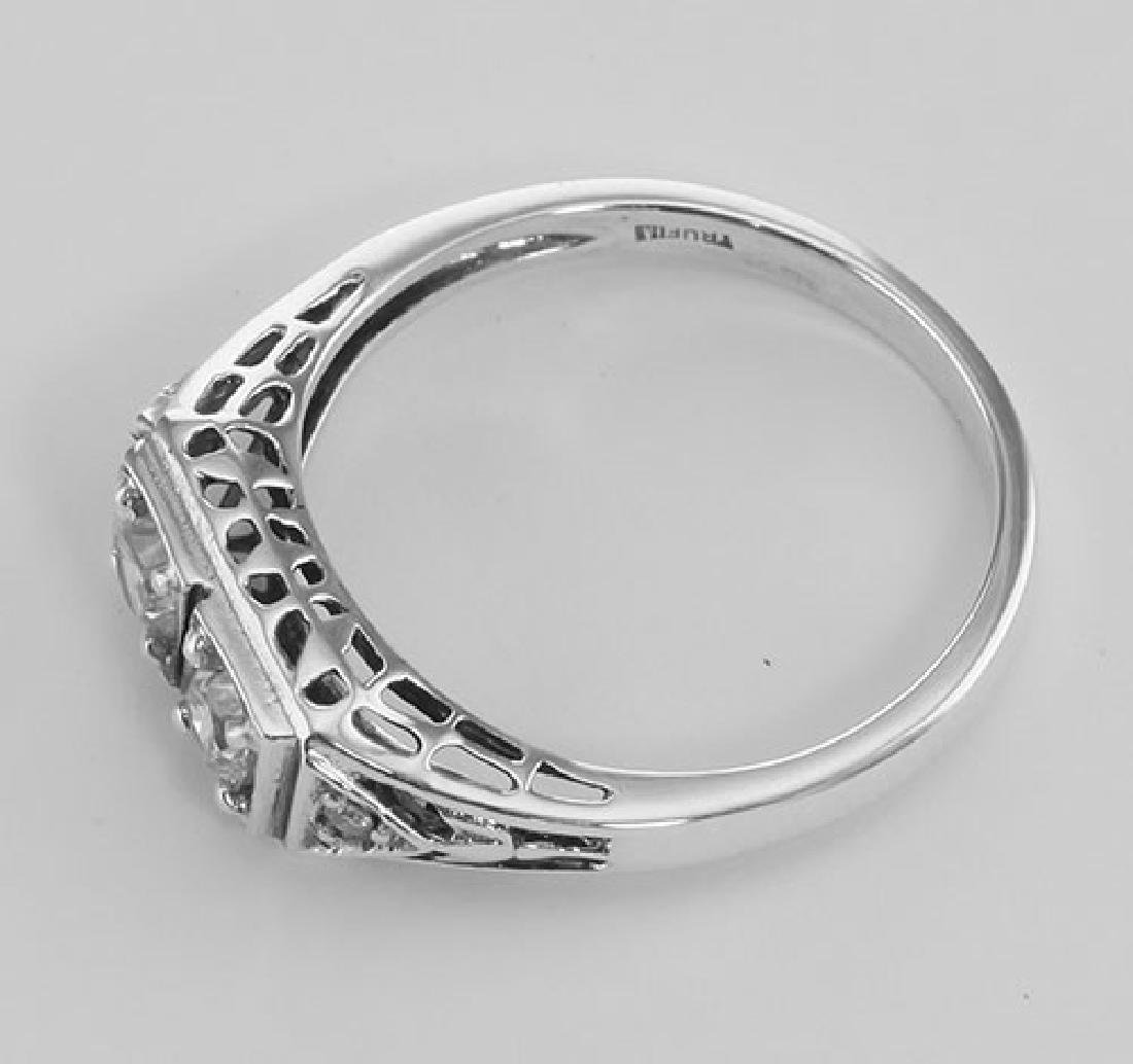 CZ Filigree Ring w/ 2 Diamonds - Sterling Silver - 3