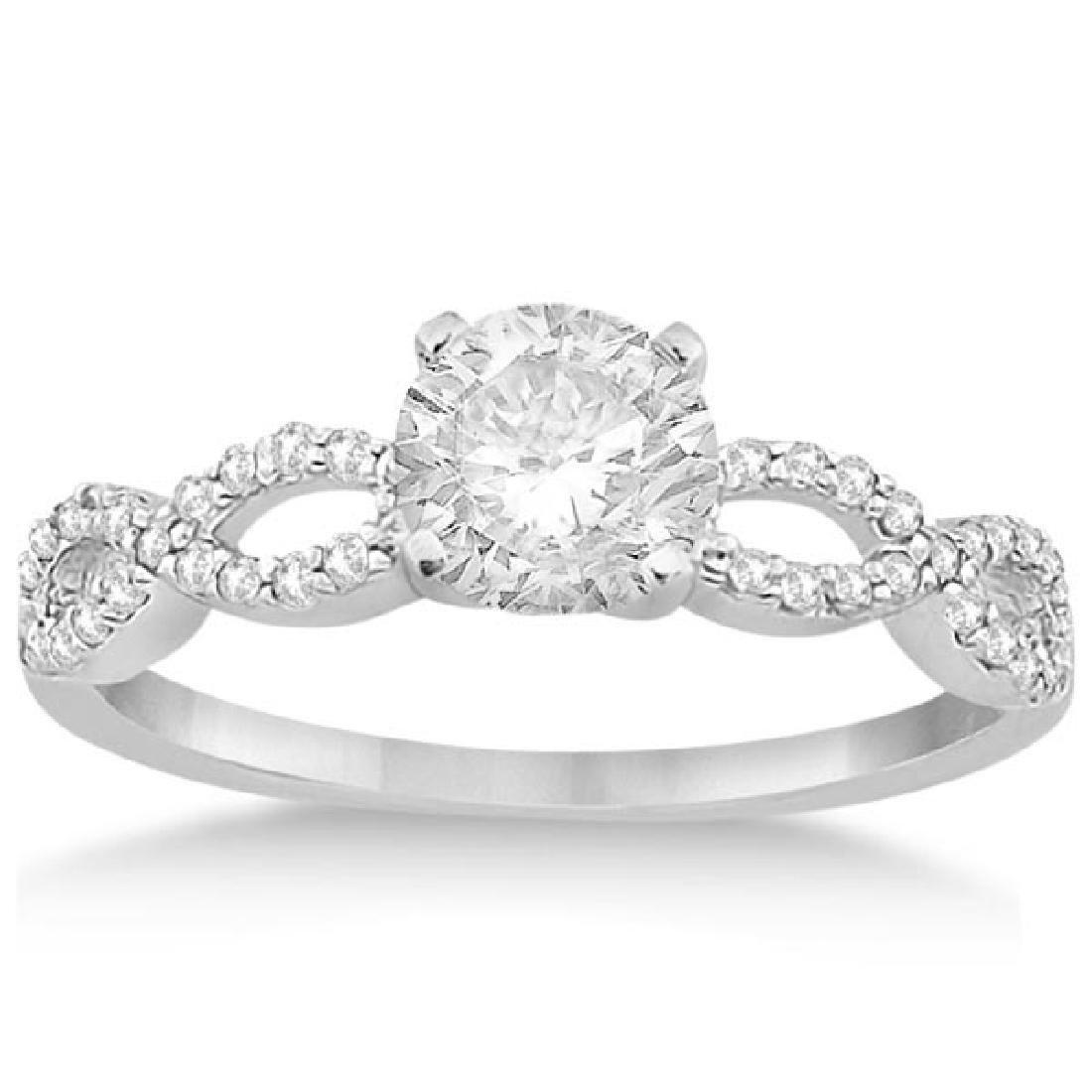 Edwardian Diamond Halo Engagement Ring Floral 14k White