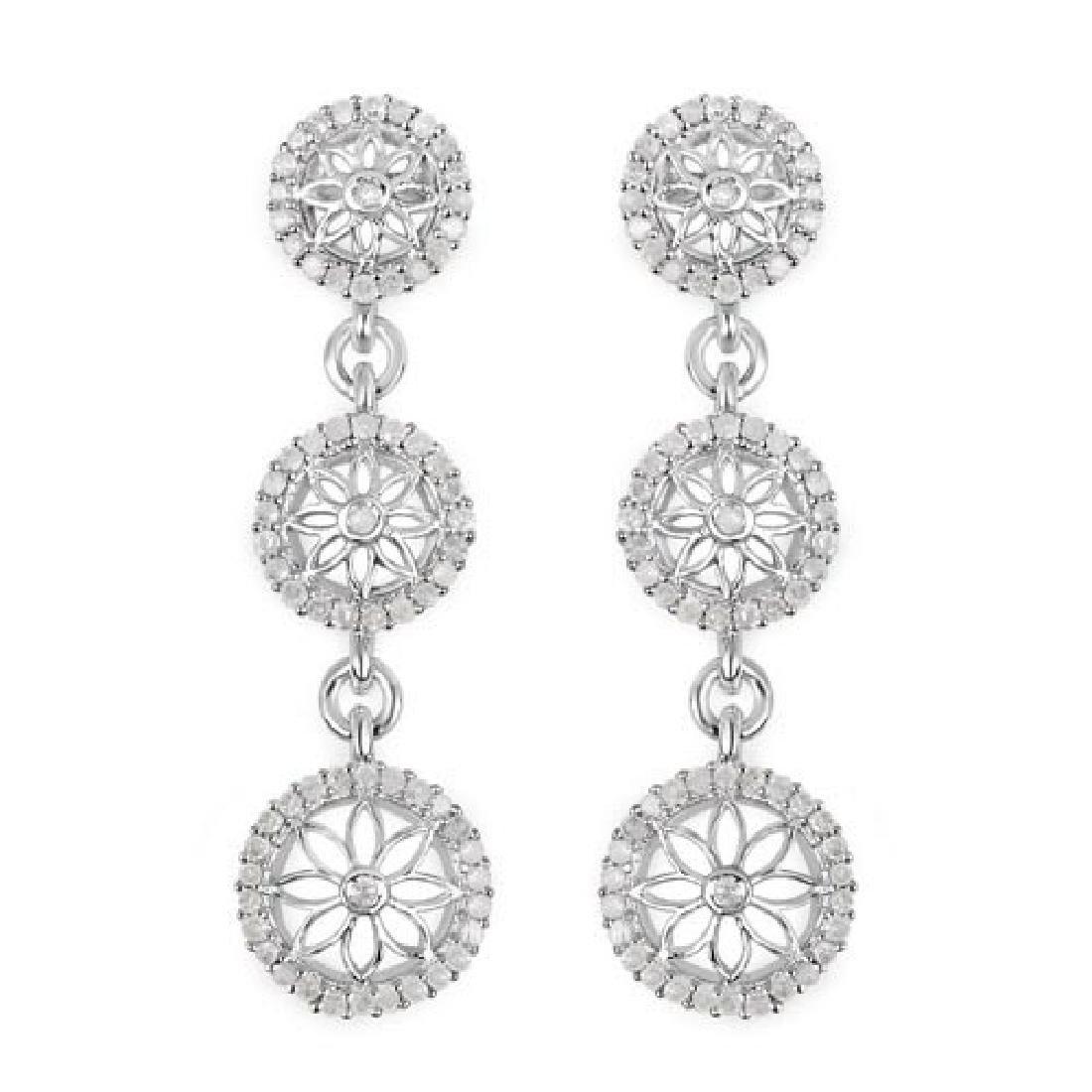 0.80 Carat Genuine White Diamond .925 Sterling Silver E