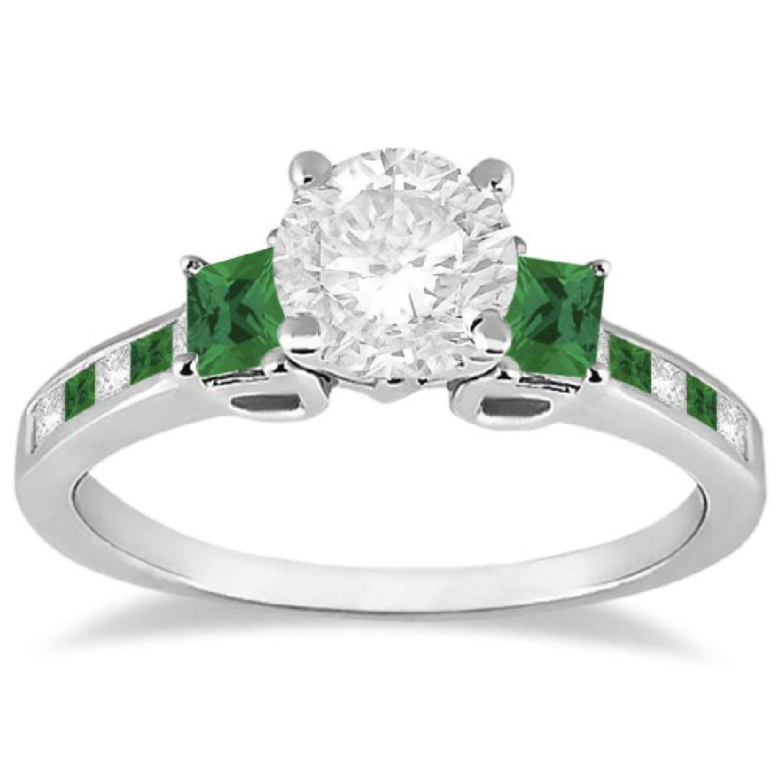 Princess Cut Diamond and Emerald Engagement Ring 18k Wh